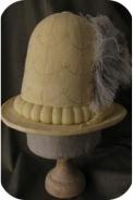 Copy of C16th hat. leather on hand-made felt silk embroidery